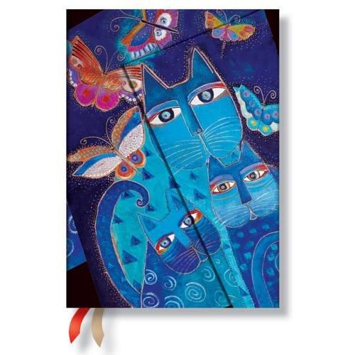 Laurel Burch Katzen in Blau mit Schmetterlingen, Schoen und Raetselhaft - Kalender 2016 Midi Wochenueberblick Horizontal - Paperblanks