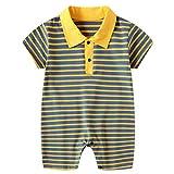 Baby Jungen Polo Overall Body Kurzarm Strampler Baumwolle Schlafanzüge Säugling Streifen Jumpsuit Babyspielanzug Sommer Pyjamas, 3-6 Monate