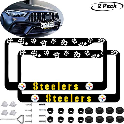 2PCS Paw Logo Fit Steelers License Plate Frame Car Accessories,Black Latest Frosted Aluminum Alloy Steelers Llicense Plate,for US Car Standard Steelers Tag License Frame