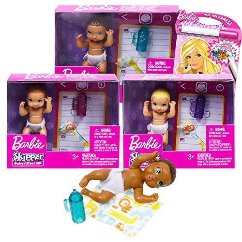Doll Playset Barbie Playset Bundle Barbie Babysitter Set - 3 Pc Barbie Baby and Accessories with Barbie Coloring Book (Barbie Playhouse)