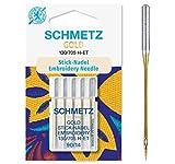 SCHMETZ Nähmaschinennadeln 5 Gold Stick-Nadeln | 130/705 H-ET | Nadeldicke: 90/14 | geeignet für das Sticken mit Stickmaschinen und das Nähen mit alle gängige Haushalts-Nähmaschinen