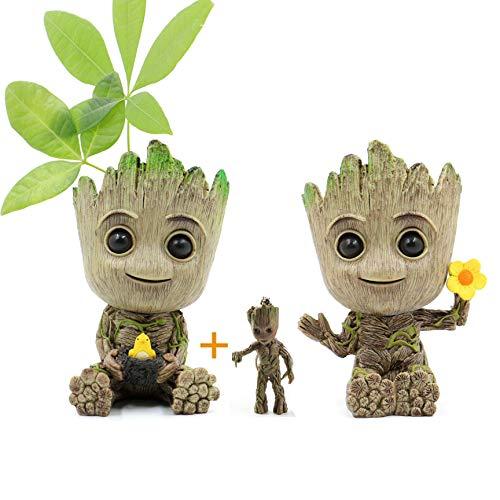 Huike Macetero Baby Groot con llavero, innovadora figura de acción para plantas y soporte para...