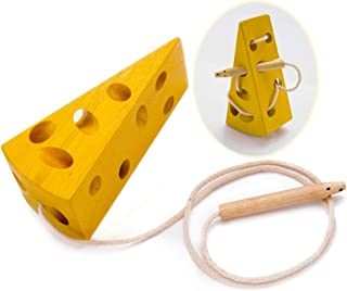Lemostaar Montessori Lacing Toy for Toddlers - Best Wooden Cheese Plane or Car Mouse and Cheese String Lacing Activity Toy, Early Educational Threading ActivityBlock for Children (Cheese)