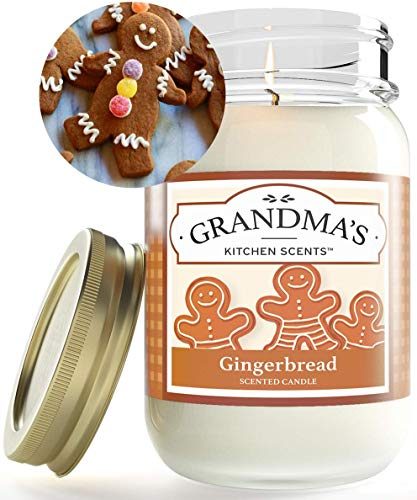 Gingerbread Scented Candles for Home | Non Toxic Long Lasting Soy Candles | Delicious Scent | Large 16 oz Mason Jar | Hand Made in The USA