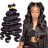 Brazilian Body Wave Human Hair Bundles 12A Unprocessed Remy Human Hair Bundles Weave Hair Human Bundles Brazilian Virgin Hair For Black Women 3 Bundles (28 30 32) Inch