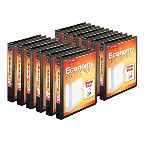 Cardinal Economy 3-Ring Binders, 1', Round Rings, Holds 225 Sheets, Clearvue Presentation View, Non-Stick, Black, Carton of 12