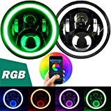 "Aukmak 7 inch LED Headlights RGB Halo Ring Angel Eyes 7"" Round Multicolor DRL Bluetooth Remote Control for Jeep Wrangler JK LJ CJ Sahara Sport Rubicon Headlamp 1997 ~ 2017"