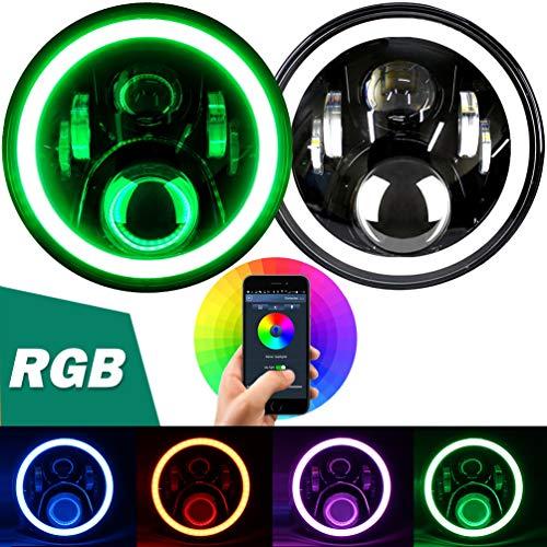 "Aukmak 7 inch LED Headlights RGB Halo Ring Angel Eyes 7"" Round Multicolor DRL Bluetooth Remote Control for Jeep Wrangler JK LJ CJ Sahara Sport Rubicon Headlamp 1997 ~ 2017"
