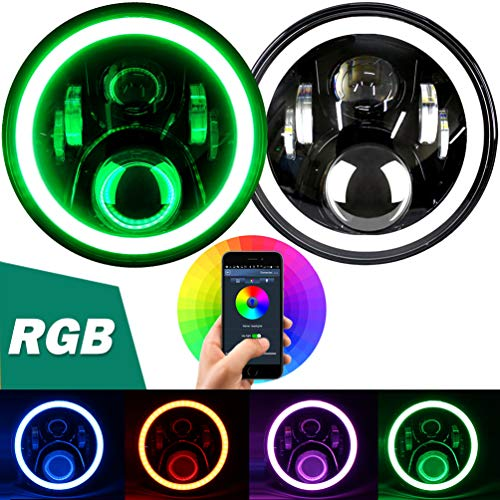 "Aukmak 7 inch LED Headlights RGB Halo Ring Angel Eyes 7"" Round Multicolor DRL Bluetooth Remote Control for Jeep Wrangler JK LJ CJ Sahara Sport Rubicon Headlamp 1997~2017"