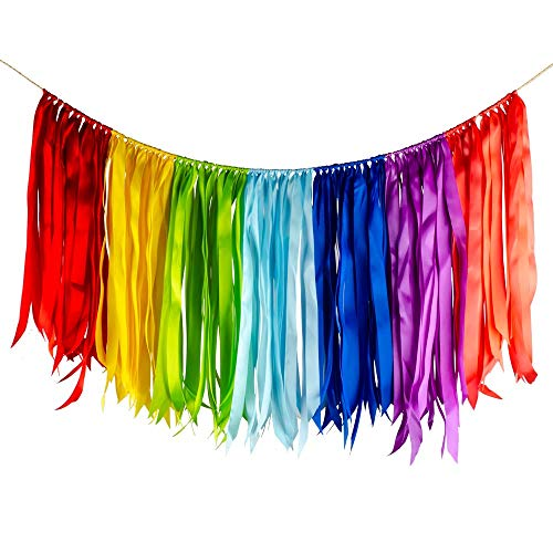 ZOOYOO Fabric Ribbon Garlands with Tassel Garland Already Assembled Ribbon Hanging Decoration for Party Decoration Supplies Red,Yellow,Green,Ligh Green,Navy Blue,Purple,Pink