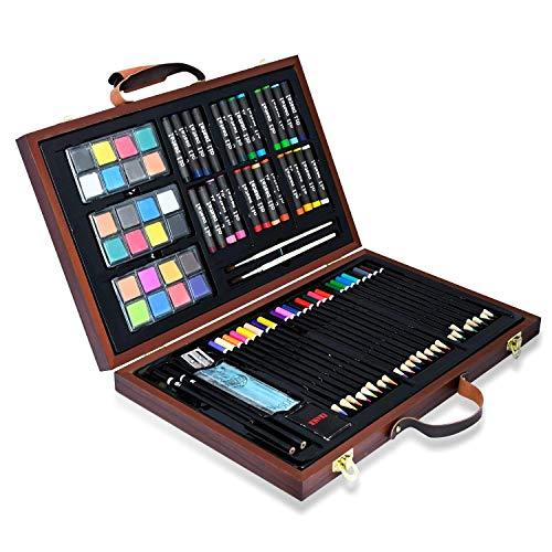 Hengda 79 teilig Malsets,Kinder Buntstifte Set Zeichnung Werkzeug im Holzkoffer für Künstler, Erwachsene und Kinder