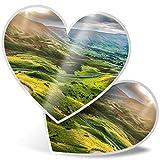 Impresionante 2 pegatinas de corazón de 7,5 cm – Mam Tor Peak District Countryside Fun calcomanías para portátiles, tabletas, equipaje, libros de chatarra, frigorífico, regalo genial #16375
