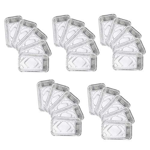 Backbayia 50 Stück Aluschalen Aluminiumfolie Tropfschalen Einweg Aluminium Grillschalen
