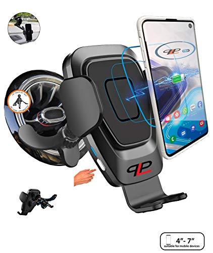 Kabelloses KFZ-Ladegerät mit automatisch gesteuerten Spannarmen Auto Handyhalterung mit Ladefunktion, Induktionsladegerät für Mercedes Audi (für runde Lüftungsgitter ohne USB-Ladegerät, Grau-Schwarz)