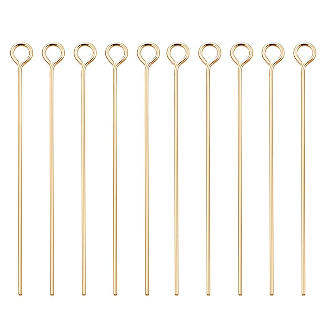 BENECREAT 100PCS 18K Real Gold Plated Eye Pins 21 Gauge Open Eye pins for DIY Jewelry Making Findings - 45mm (1.8