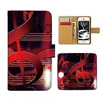 Galaxy A21 UQ mobile SCV49 ケース 手帳型 MUSIC 手帳ケース スマホケース カバー 音楽 音符 譜面 ト音記号 楽器 バンド E0257010115002