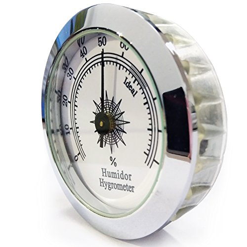 CyJay Round Analog Hygrometer for Cigar Humidor Cabinets 50mm Diameter (Gold & Silver) (silver)