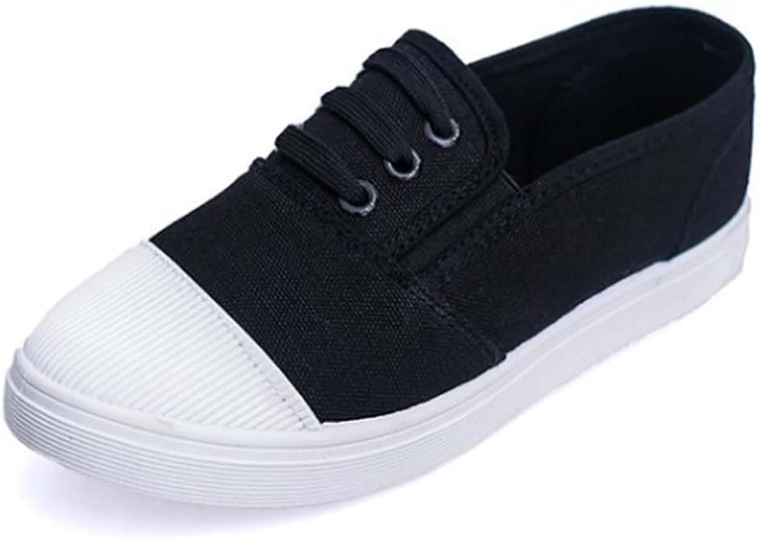Women Casual shoes Canvas Shallow Mouth Flat shoes ( color   Black )