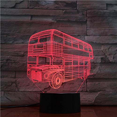Nachtlampje Dubbeldekker Bus-afstandsbediening Klein Nachtlampje 7 Kleuren Touch Optische Foto Tafel Decoratie Lamp, Geschikt Voor Slaapkamer Bar Sfeerlamp