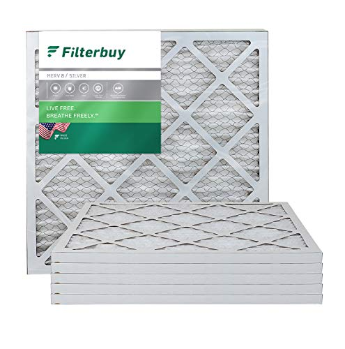 FilterBuy 20x20x1 MERV 8 Pleated AC Furnace Air Filter, (Pack of 6 Filters), 20x20x1 – Silver