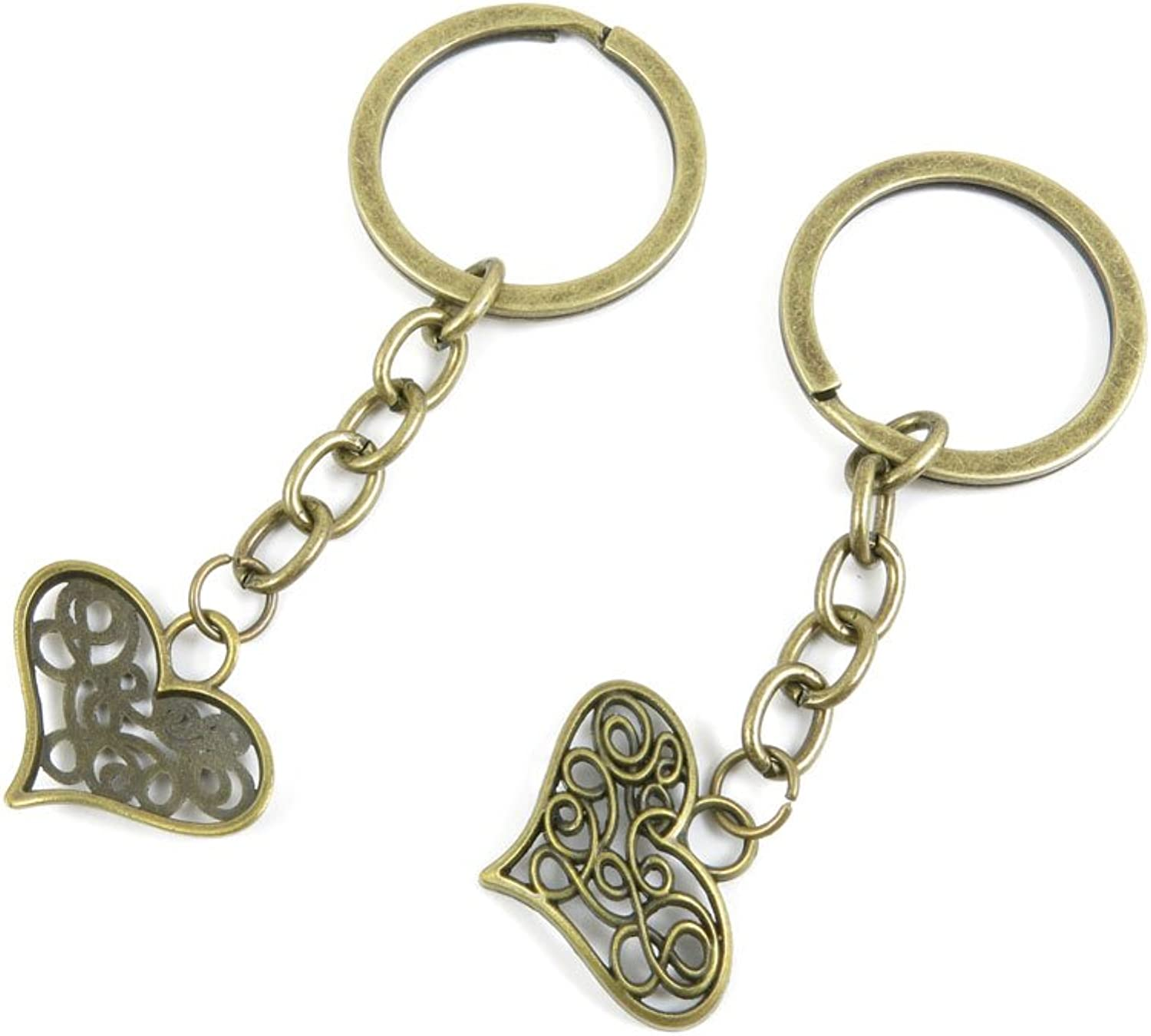 240 Pieces Fashion Jewelry Keyring Keychain Door Car Key Tag Ring Chain Supplier Supply Wholesale Bulk Lots N6KP3 Hollow Heart