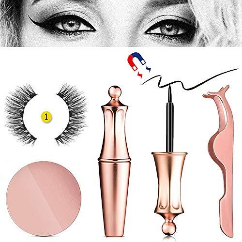 Foonee Eyeliner Magnétique avec 3D Magnétique Cils & Tweezers, Noir Imperméable à L?Eau Magnétique Liquide Eyeliner pour Une Utilisation avec des Faux Cils Magnétiques