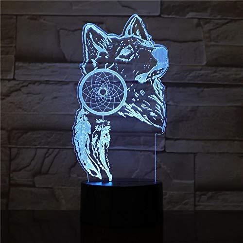 Creativo atrapasueños acrílico lámpara de mesa multicolor 3D Animal LED luz nocturna acrílico USB decoración regalo