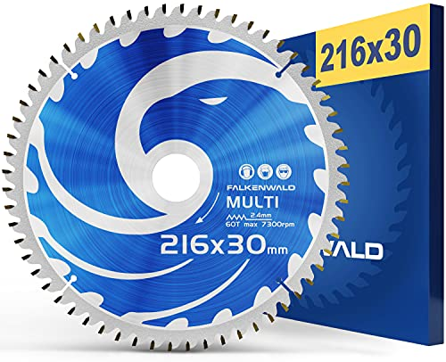 FALKENWALD - Hoja de Sierra Circular 216 x 30 mm - Ideal para Madera - Metal y Aluminio - Disco de Corte compatible con Sierra Tronzadora y Sierra Circular de Bosch & Makita