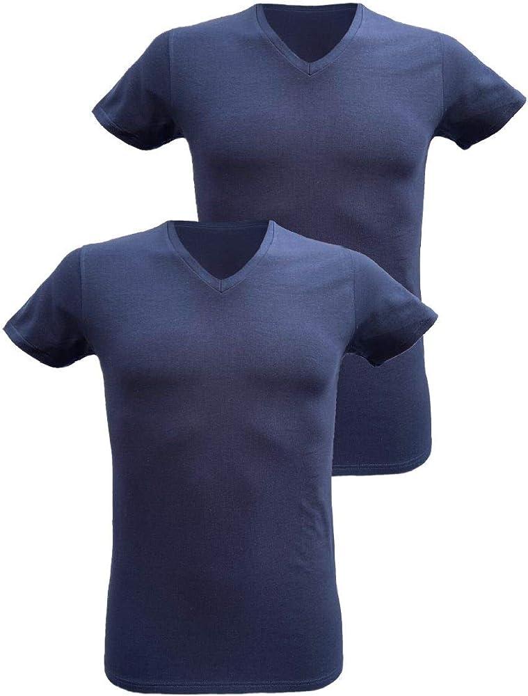 Armata di mare , 2 magliette interne per  uomo , in  cotone elasticizzato , scollo a v e manica corta GT 109B