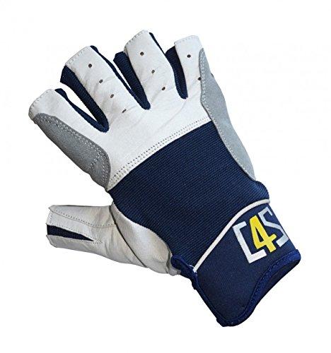 crazy4sailing Damen Herren Segelhandschuhe Regatta - 5 Finger-frei, Farbe:Navyblau, Größe:L