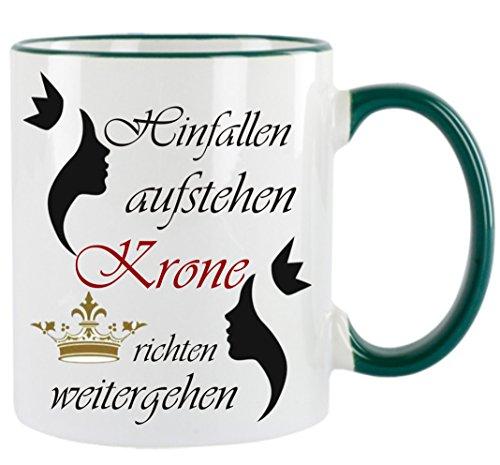 Creativ Deluxe Hinfallen - aufstehen - Krone richten weitergehen Kaffeetasse mit Motiv, Bedruckte Tasse mit Sprüchen oder Bildern - auch individuelle Gestaltung nach Kundenwunsch