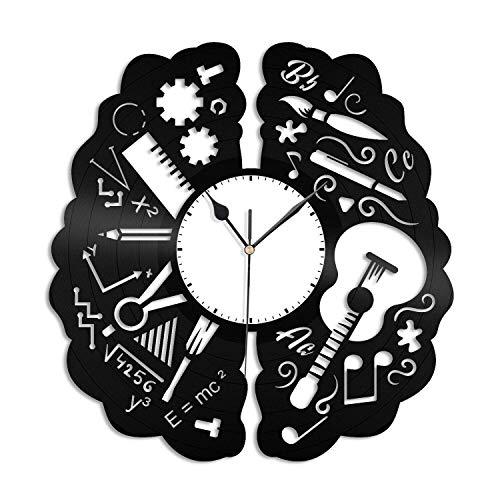 Creatividad Cerebro Reloj de Pared de Vinilo, Reloj con Disco de Vinilo Arte de la Pared Decoraciones únicas para Habitaciones Regalo Hecho a Mano
