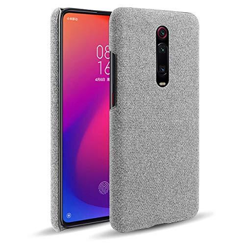 Suhctup Funda compatible con Xiaomi Redmi Note 8 Pro, elegante tela para teléfono móvil, protección completa, ultrafina, antihuellas y antiarañazos, diseño de tela, color gris claro