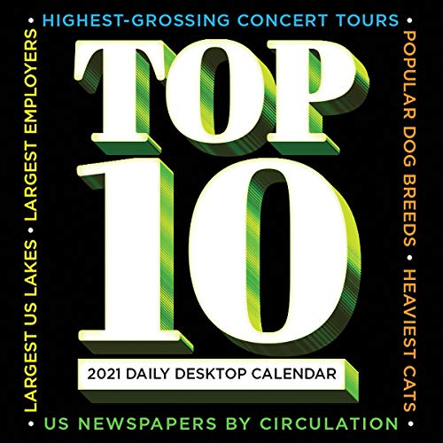 top 10 best 2021 4 TF PUBLISHING 2021 Top 10 Daily Desktop Boxed Calendar with Easel - Fun Facts Trivia - Compact - Perfect for Home or Office Planning - 5.5