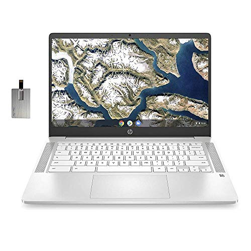 "2020 HP Chromebook 14"" HD Laptop Computer, Intel Dual-core Celeron N4000 Processor, 4GB RAM, 32GB eMMC, Backlit Keyboard, B&O Audio, Webcam, USB-C, Chrome OS, White, 32GB SnowBell USB Card"