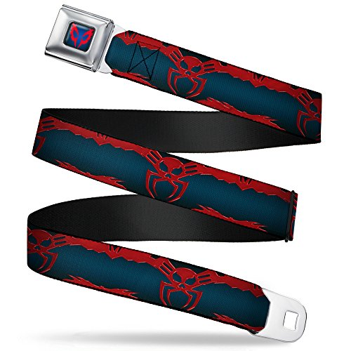 Buckle-Down Seatbelt Belt - Spider-Man 2099 Suit Logo 2099 Navy/Red - 1.0' Wide - 20-36 Inches in Length