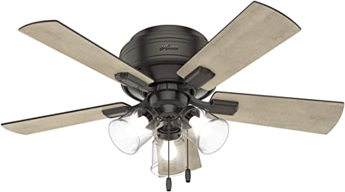"""lowest Hunter Crestfield outlet online sale Indoor Low Profile Ceiling Fan with LED Light and Pull Chain online Control, 42"""", Noble Bronze outlet sale"""