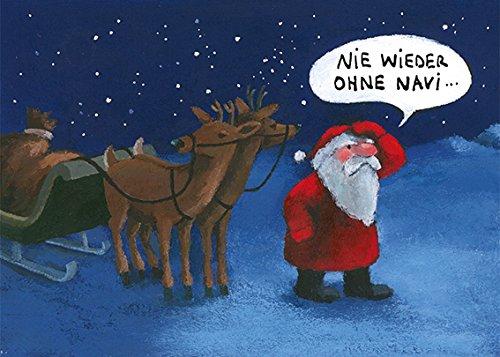 Postkarte A6 • 33078 ''Nie wieder ohne Navi'' von Inkognito • Künstler: Henrike Wilson • Weihnachten
