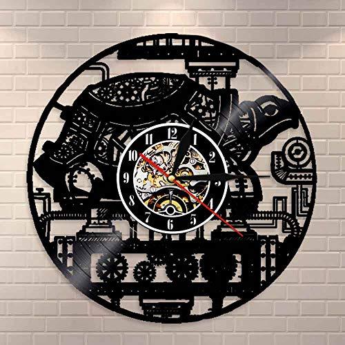 wtnhz LED-Reloj de Pared de Tortuga, Adorno Retro de Tortuga, Engranaje, Reloj de Vinilo, Reloj Decorativo para Amantes de los Animales