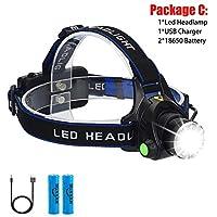 8000LM LEDヘッドランプヘッドライト防水ヘッド懐中電灯額ヘッドライトトーチ狩猟採掘釣りライト (Body Color : T6 LED, Emitting Color : Option B)