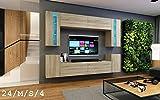 HomeDirectLTD Wohnwand Future 24 Moderne Wohnwand, Exklusive Mediamöbel, TV-Schrank, Neue Garnitur, Große Farbauswahl (RGB LED-Beleuchtung Verfügbar) (LED 16-Farbig mit Fernbedienung, Sonomo Eiche)