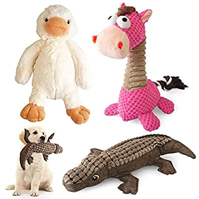 KONKY Squeaky Dog Toys Set, 3 Packs Durable Dog Plush Toy Chew Toys Dog Companion, Various Animals Shapes Training Toy for Puppy Small Medium Large Dogs (Duck, Horse and Crocodile)