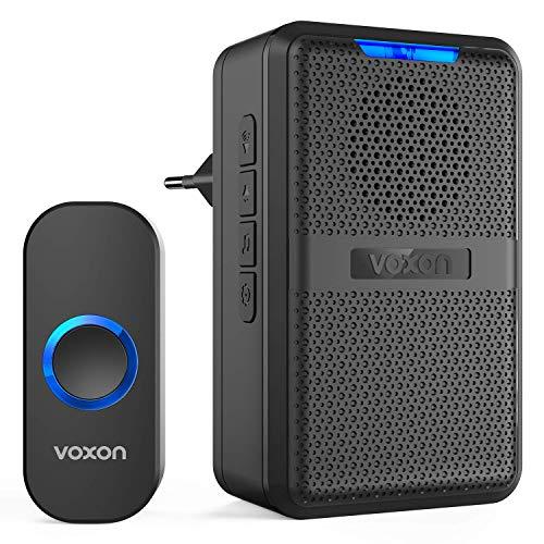VOXON Türklingel Funk, Wasserdicht Kabellose Türklingel Tragbares Wireless Türklingel mit 58 Klingeltöne und Licht-Signal, 200m Reichweite, IP44