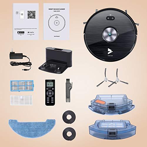 Hosome Saugroboter WLAN 2000Pa Upgrade Staubsauger Roboter mit Wischfunktion, App & Alexa Steuerung, Selbstaufladung, 300ML elektrischer Wassertank, für Tierhaare, Teppiche, Hartböden - 9