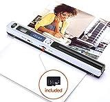 MUNBYN Escáner Portáctil de Documento de Mano en Color 900 x 900 PPP para Oficina, Formato JPG y PDF, 16GB TF Tarjeta Gratuita