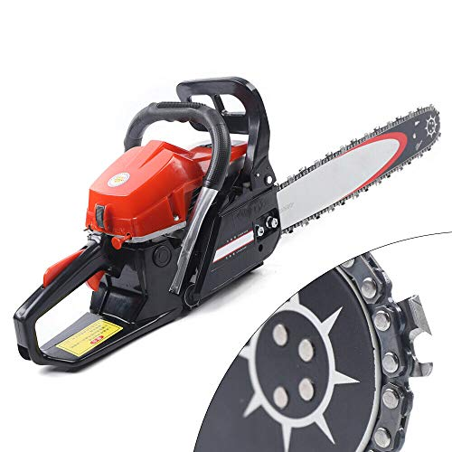 62CC 2-Cycle Gas Powered Chainsaw, 20-Inch Bar Chainsaw, Handheld Cordless Petrol Gasoline Chain Saw for Farm, Garden and Ranch Woodworking
