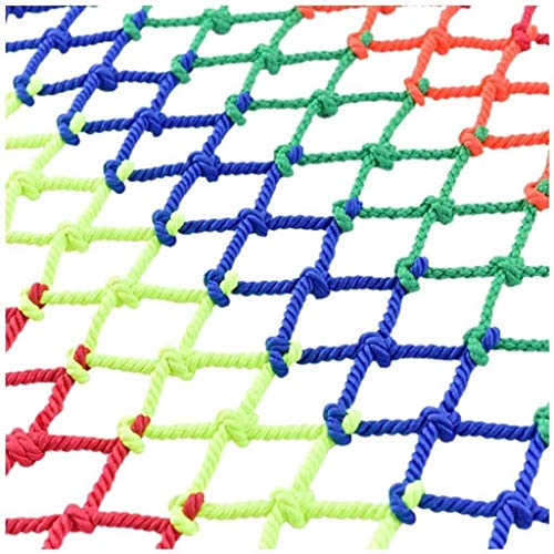 Safety Net Indoor safety net nylon protective mesh rope child stair safety net outdoor sports climbing net weaving ceiling grid garden decoration net 8cm (color: multi-color mix and match) Hanging Clo
