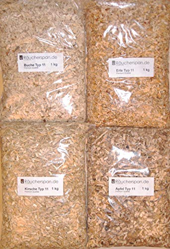 Räucherspäne Räucherchips Holzarten Apfel, Erle, Kirsche, Buche Typ 11 Spangröße 6-10mm f. Räucherofen und Smoker Box