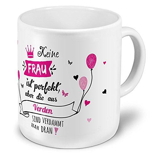 printplanet XXL Riesen-Tasse der Stadt/Ort Verden - Motiv Keine Frau ist Ideal, Aber. - Stadttasse, Kaffeebecher, Becher, Mug