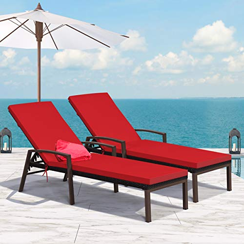Tangkula 2 PCS Patio Rattan Chaise Lounge Chair, Outdoor Reclining Chaise with Cushion and Armrest, Wicker Sun Lounger with Adjustable Backrest for Garden, Balcony, Poolside (Red)